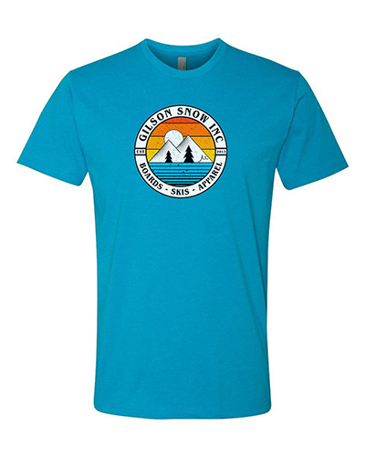 Mountain badge turquoise tee small